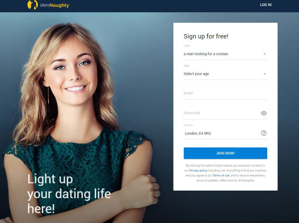 Signing Up at Iamnaughty