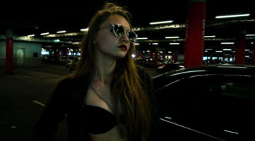 lady in the parking lot
