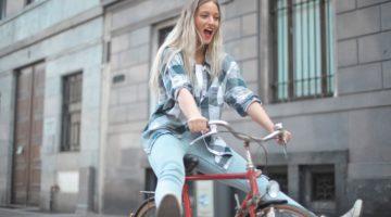 woman rides bike