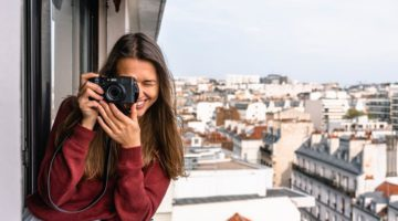 woman takes picture